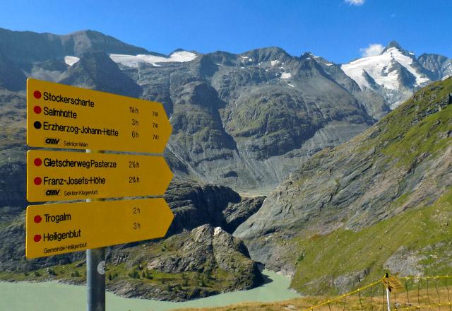Grossglockner - Wegetafel - Kaiser-Franz-Josefs-Höhe, Gletscherweg, Pasterze