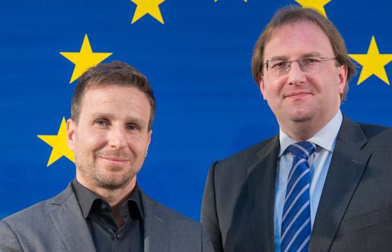 Tim Cupal und Benedikt Weingartner im Haus der Europäischen Union