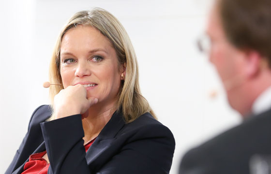 Corinna Milborn im Haus der EU