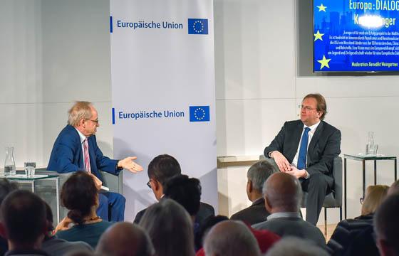 Karl Aiginger - Benedikt Weingartner im Haus der EU bei Europa :DIALOG