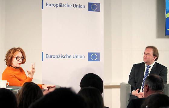 Ulrike Guérot und Benedikt Weingartner im Haus der Europäischen Union
