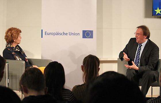 Margaretha Maleh und Benedikt Weingartner im Haus der EU, Wien