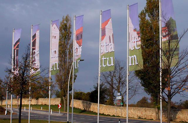Carnuntum: Flaggen vor der Römerstadt
