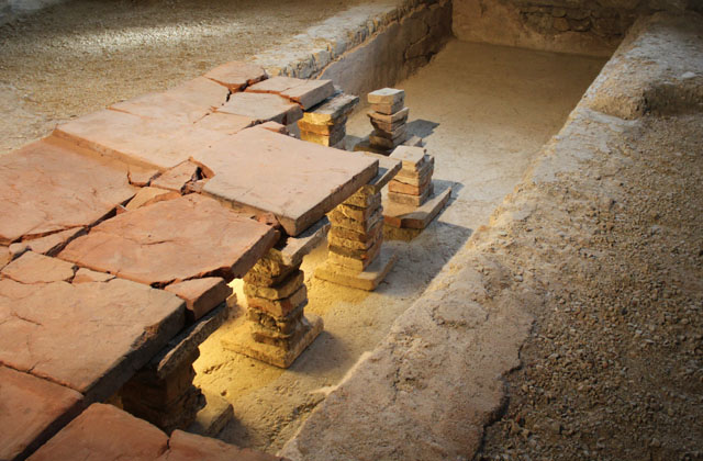 Carnuntum: Rekonstruierte römische Fussbodenheizung