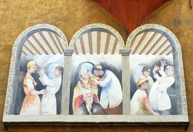 Wandmalerei in der Altstadt von Bozen