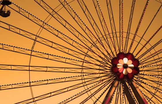 Wien - Prater - Blumenrad in der Dämmerung
