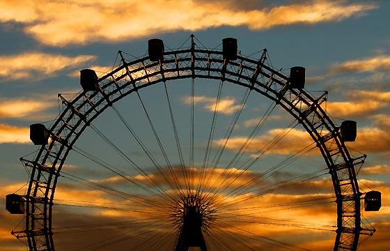 Wien - Riesenrad, Abenddämmerung