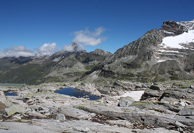 Bergpanorama am Medelzkopf: Tauernmoos-Sperre und Berge