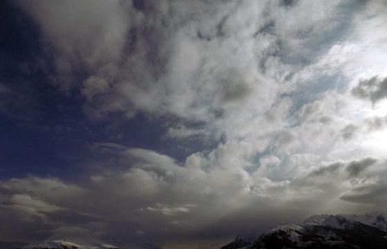 Aufziehende Wetterfront über dem Alpenhauptkamm